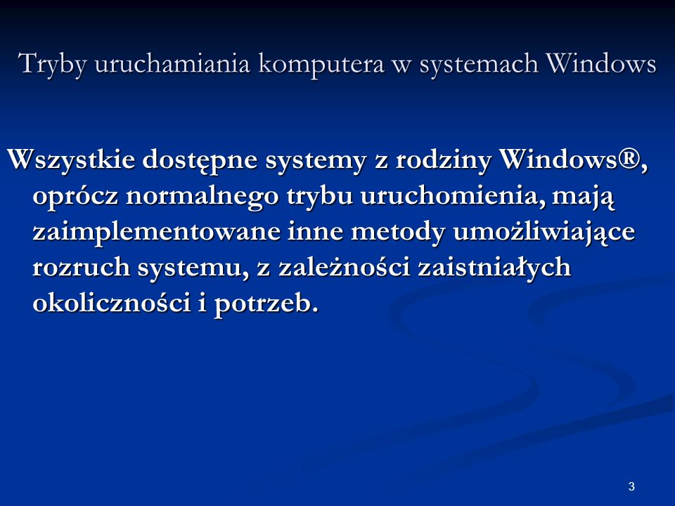 Tryby uruchamiania komputera w systemach Windows