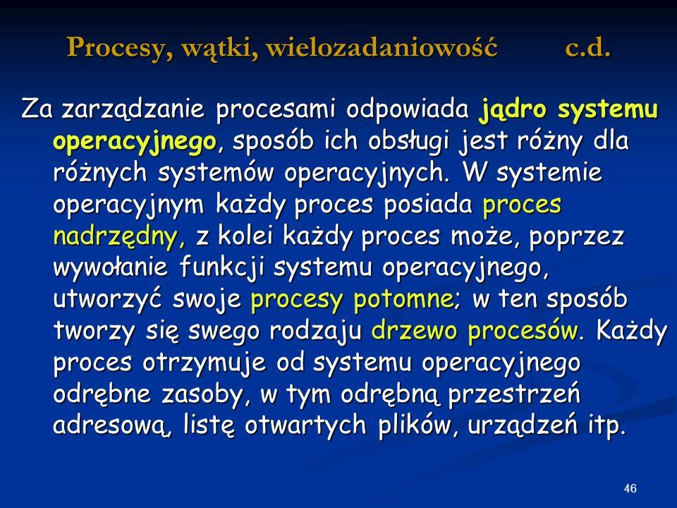 Procesy, wątki, wielozadaniowość c.d.