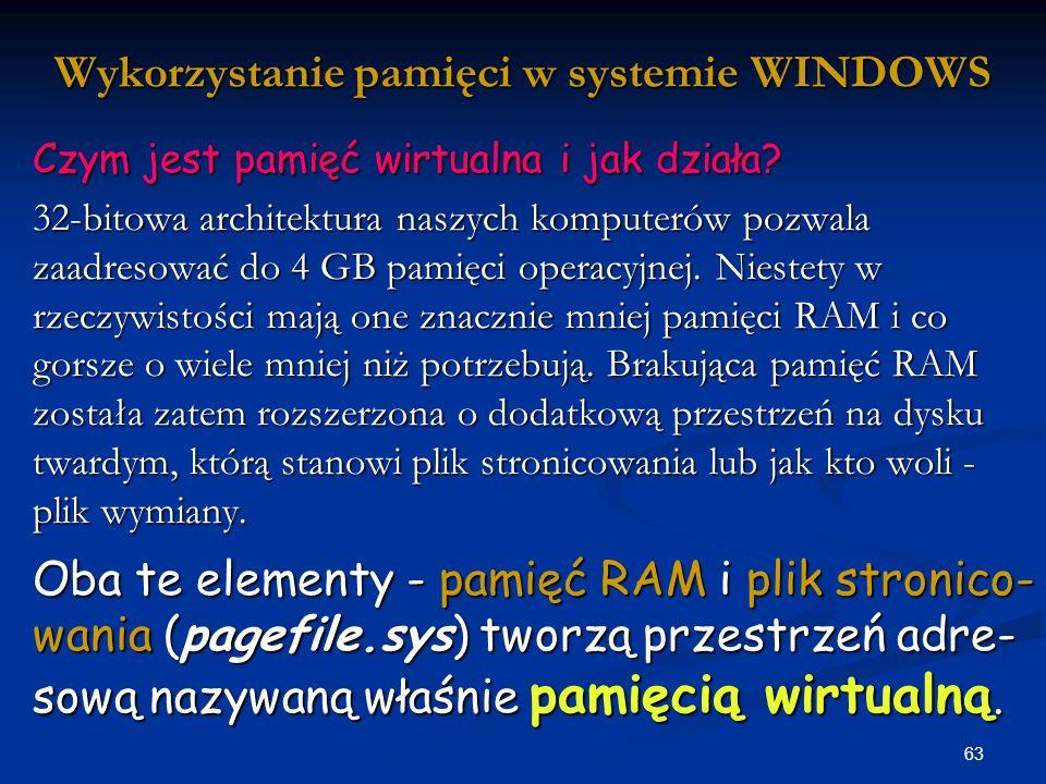 Wykorzystanie pamięci w systemie WINDOWS