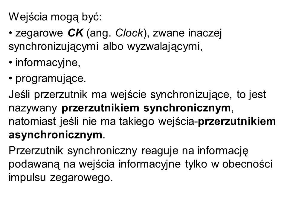 Wejścia mogą być: • zegarowe CK (ang. Clock), zwane inaczej synchronizującymi albo wyzwalającymi, • informacyjne,