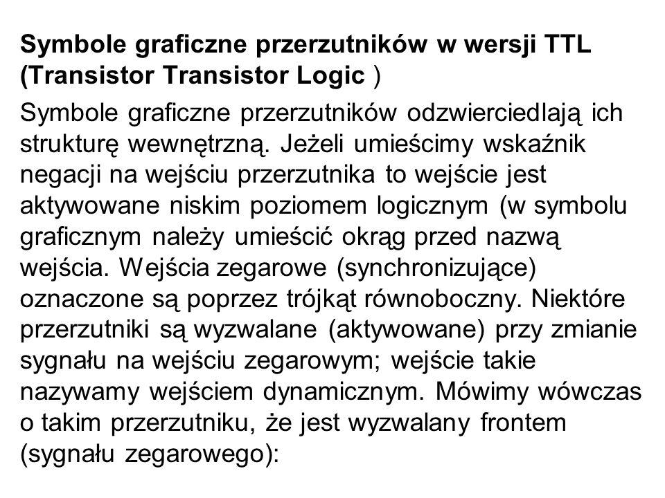 Symbole graficzne przerzutników w wersji TTL (Transistor Transistor Logic )
