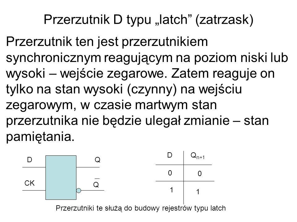 """Przerzutnik D typu """"latch (zatrzask)"""