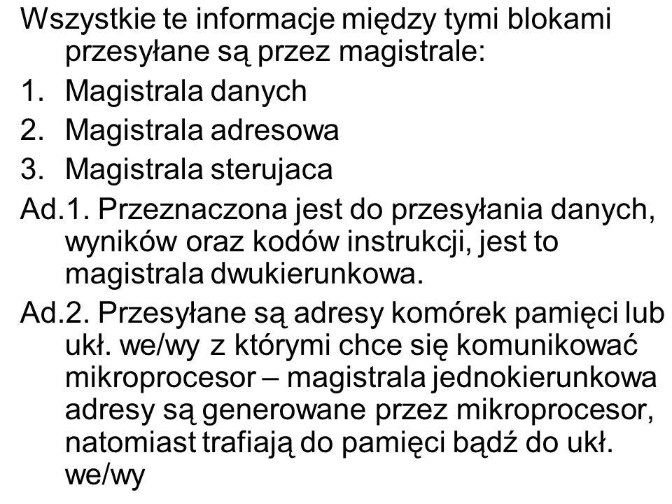 Wszystkie te informacje między tymi blokami przesyłane są przez magistrale: