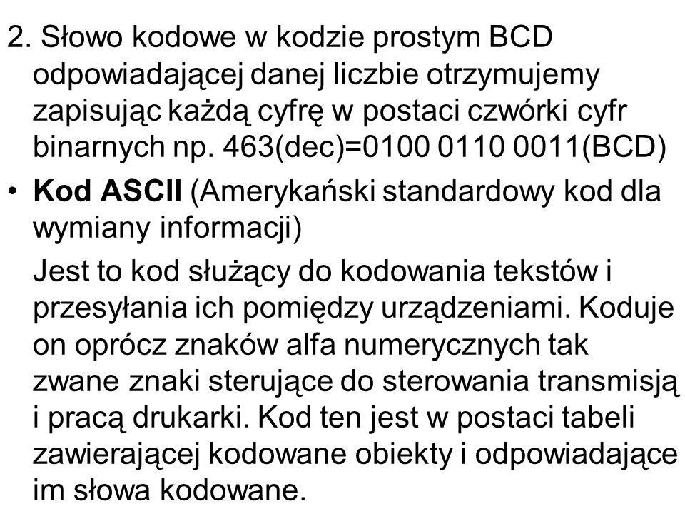 2. Słowo kodowe w kodzie prostym BCD odpowiadającej danej liczbie otrzymujemy zapisując każdą cyfrę w postaci czwórki cyfr binarnych np. 463(dec)=0100 0110 0011(BCD)