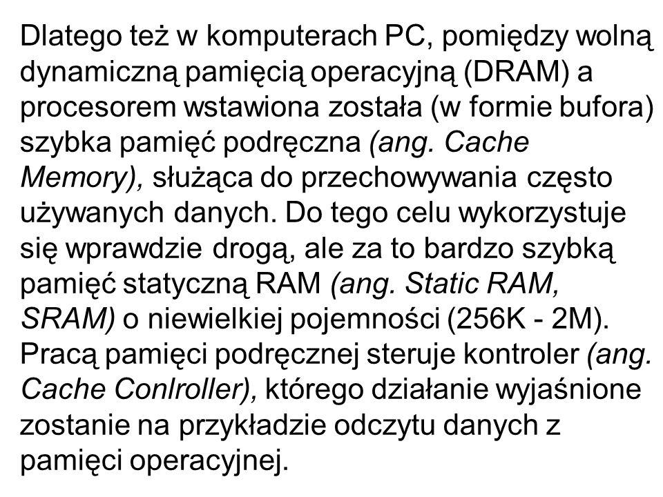 Dlatego też w komputerach PC, pomiędzy wolną dynamiczną pamięcią operacyjną (DRAM) a procesorem wstawiona została (w formie bufora) szybka pamięć podręczna (ang.