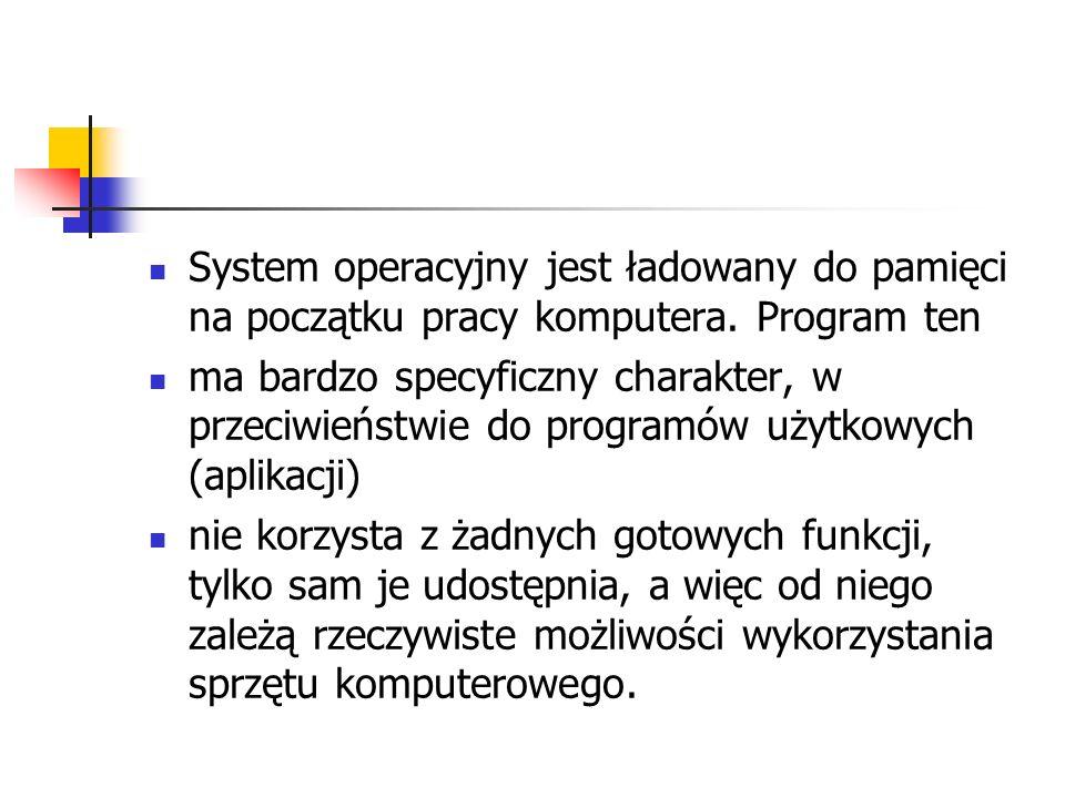 System operacyjny jest ładowany do pamięci na początku pracy komputera
