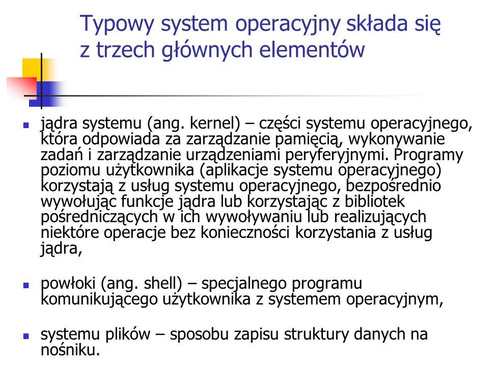 Typowy system operacyjny składa się z trzech głównych elementów
