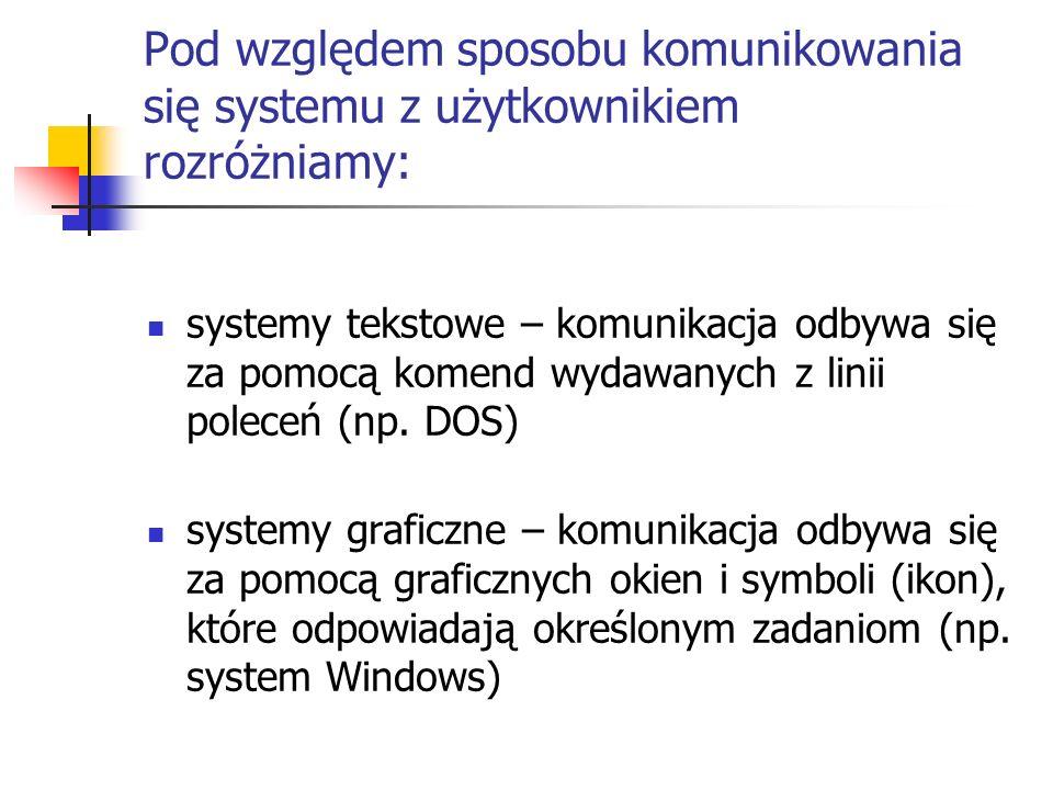 Pod względem sposobu komunikowania się systemu z użytkownikiem rozróżniamy: