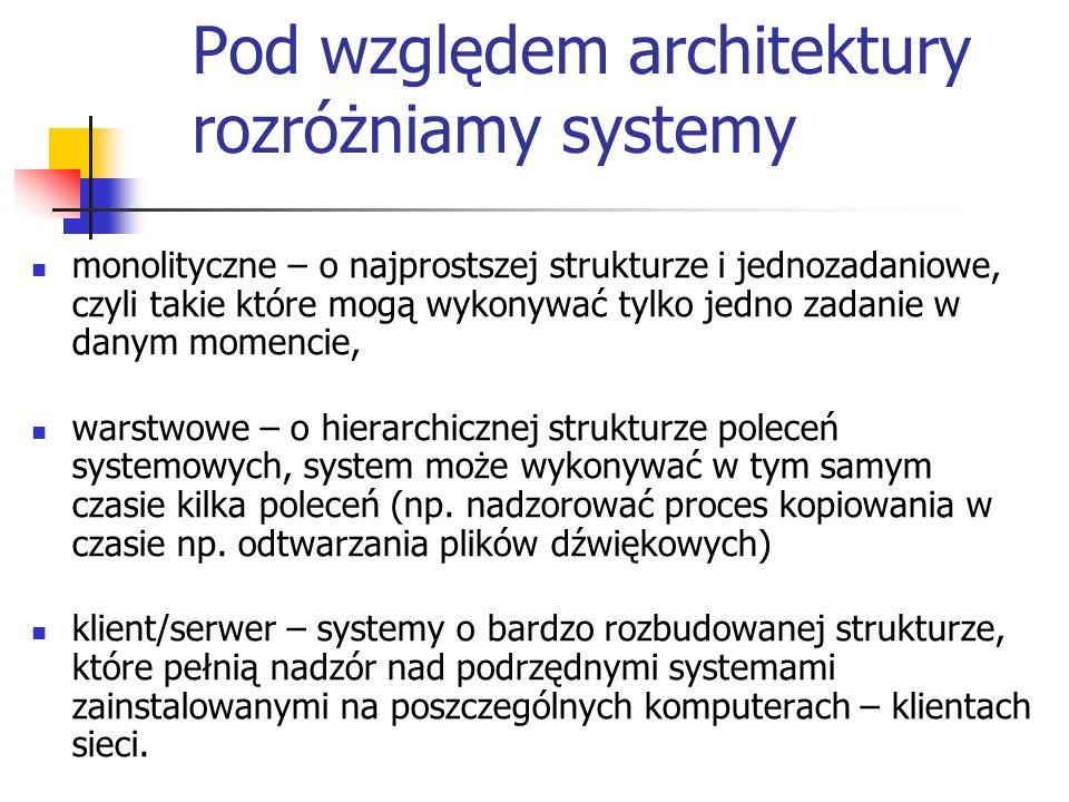 Pod względem architektury rozróżniamy systemy