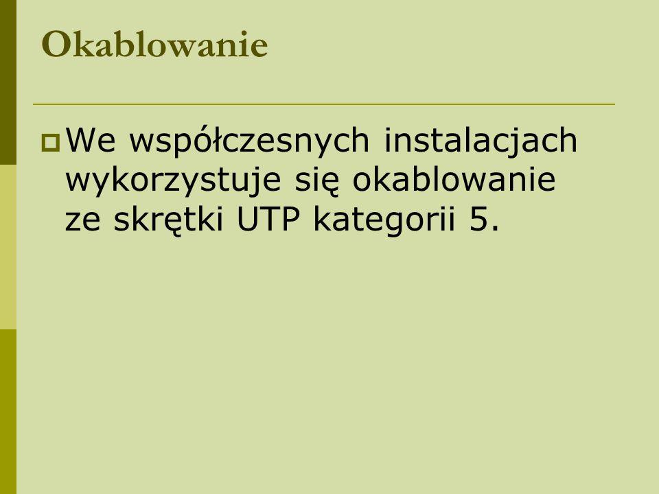 Okablowanie We współczesnych instalacjach wykorzystuje się okablowanie ze skrętki UTP kategorii 5.