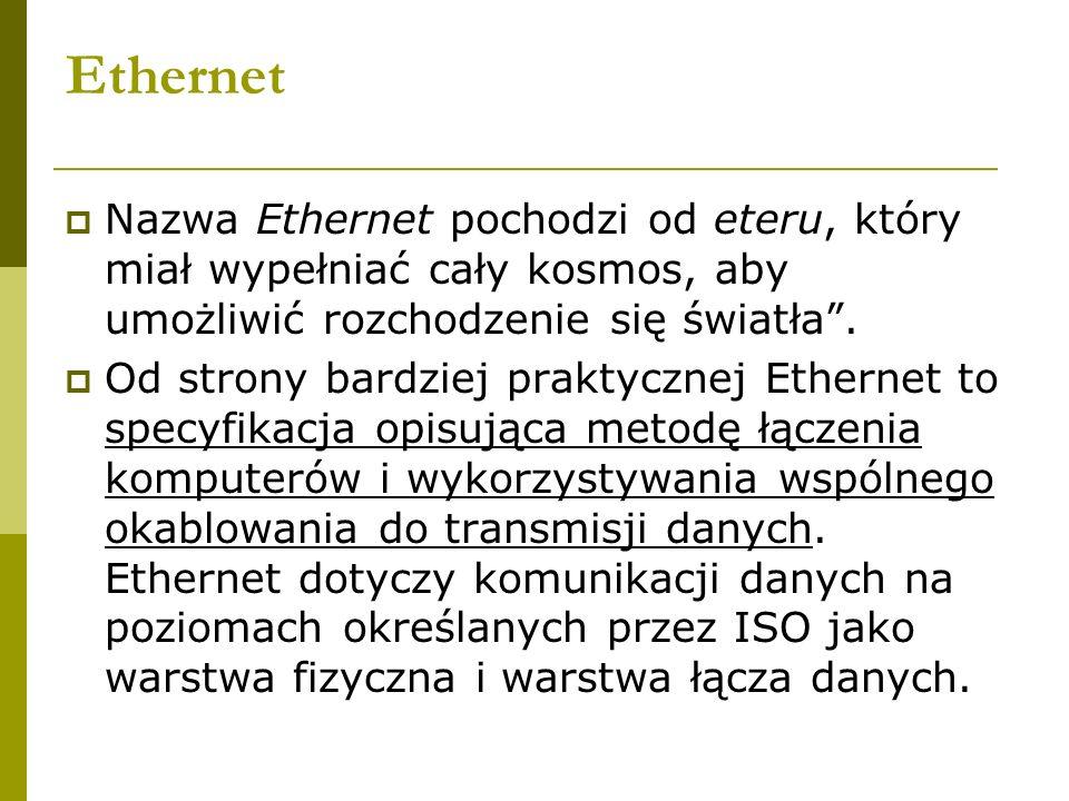 Ethernet Nazwa Ethernet pochodzi od eteru, który miał wypełniać cały kosmos, aby umożliwić rozchodzenie się światła .