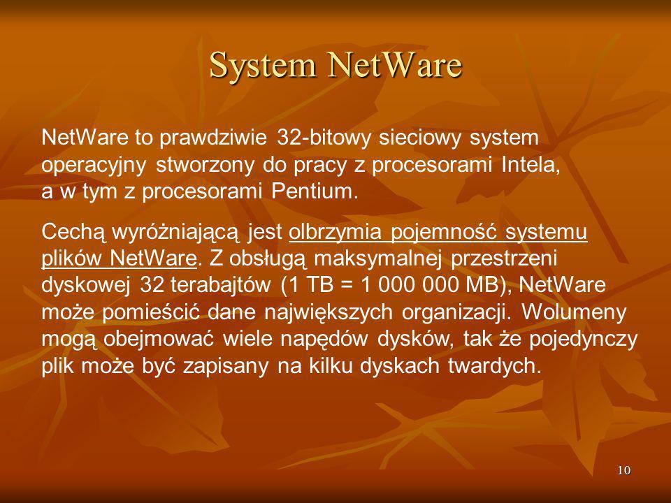System NetWare NetWare to prawdziwie 32-bitowy sieciowy system operacyjny stworzony do pracy z procesorami Intela, a w tym z procesorami Pentium.