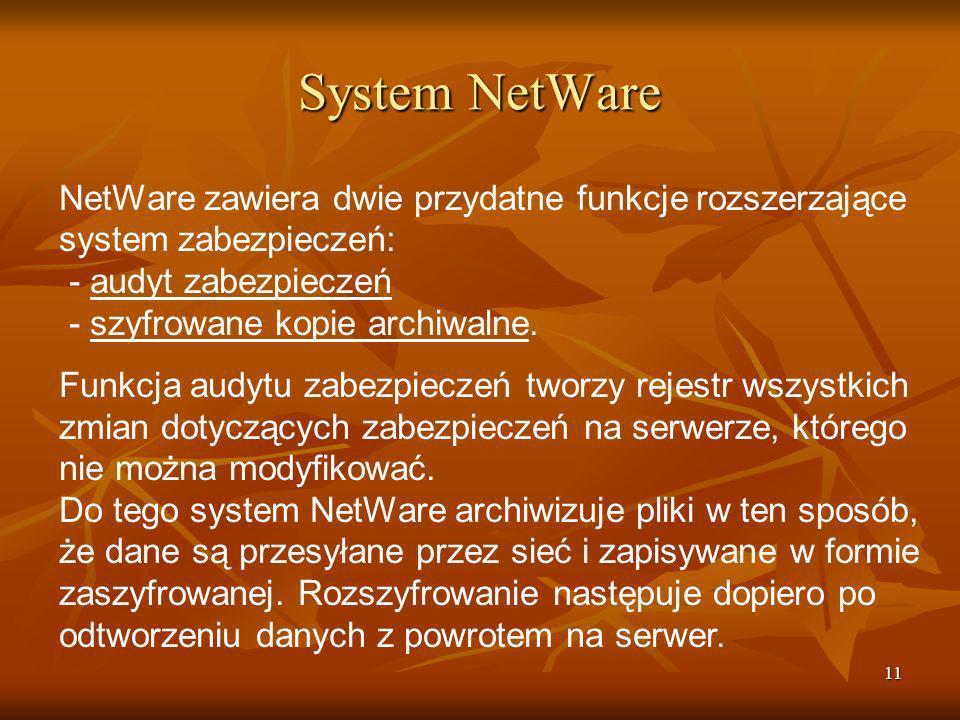 System NetWare NetWare zawiera dwie przydatne funkcje rozszerzające system zabezpieczeń: - audyt zabezpieczeń - szyfrowane kopie archiwalne.