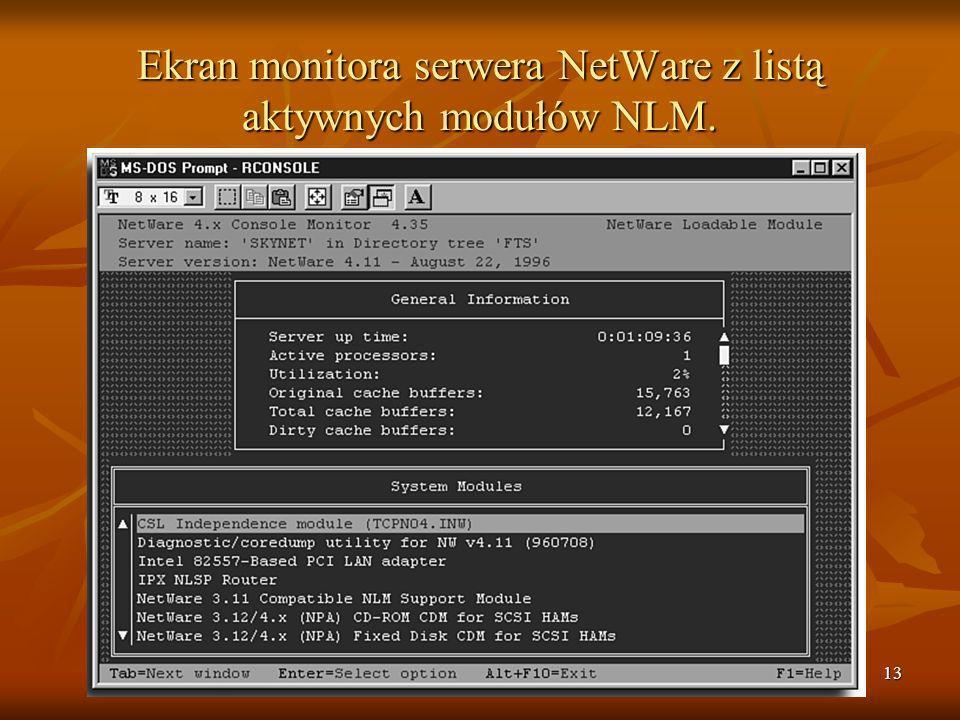 Ekran monitora serwera NetWare z listą aktywnych modułów NLM.