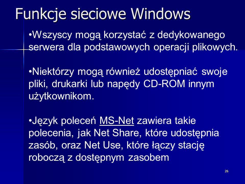 Funkcje sieciowe Windows