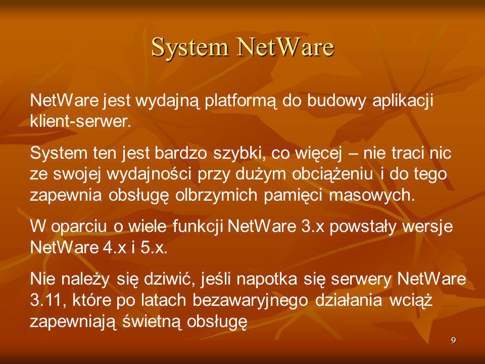 System NetWare NetWare jest wydajną platformą do budowy aplikacji klient-serwer.