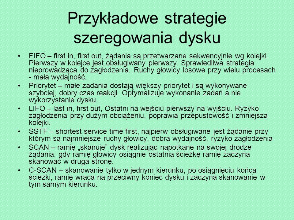 Przykładowe strategie szeregowania dysku