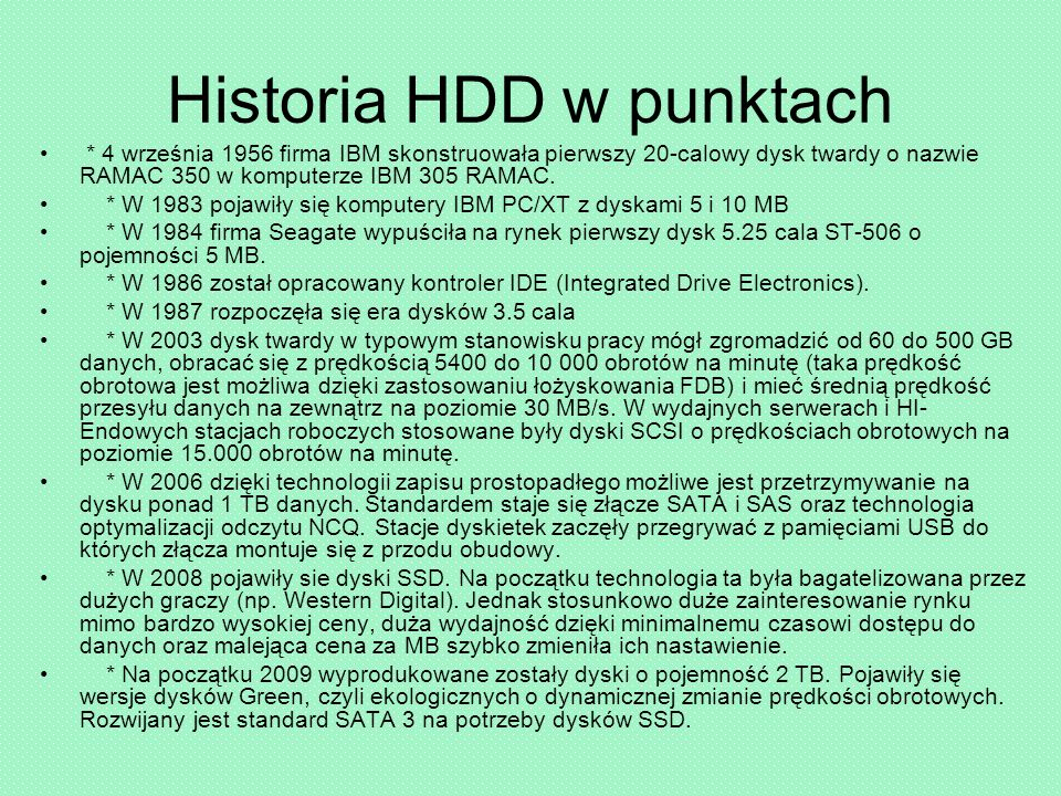 Historia HDD w punktach