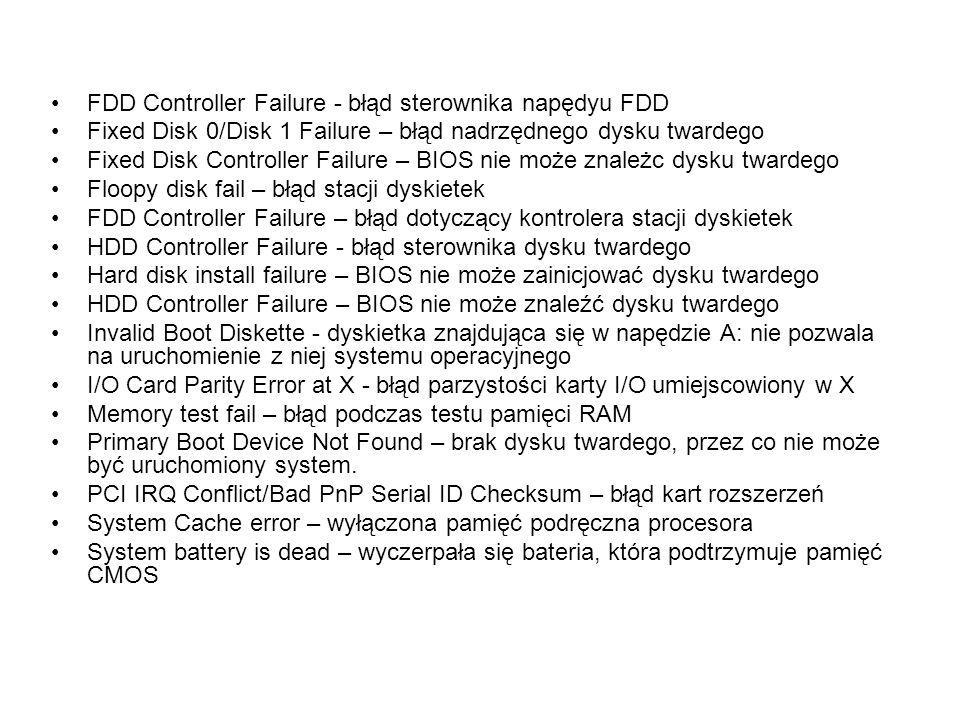 FDD Controller Failure - błąd sterownika napędyu FDD
