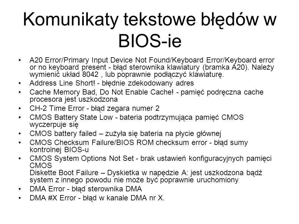 Komunikaty tekstowe błędów w BIOS-ie