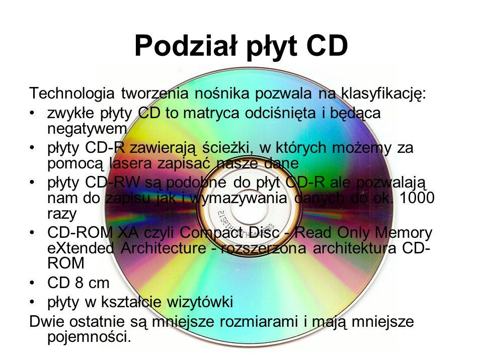 Podział płyt CD Technologia tworzenia nośnika pozwala na klasyfikację: