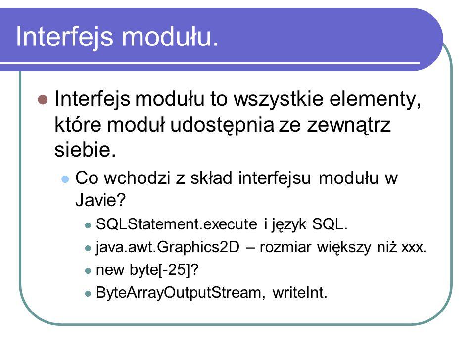 Interfejs modułu. Interfejs modułu to wszystkie elementy, które moduł udostępnia ze zewnątrz siebie.