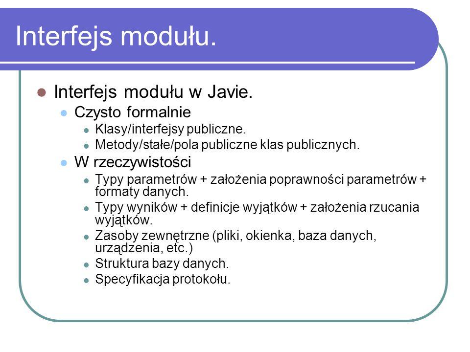 Interfejs modułu. Interfejs modułu w Javie. Czysto formalnie