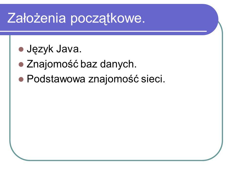 Założenia początkowe. Język Java. Znajomość baz danych.