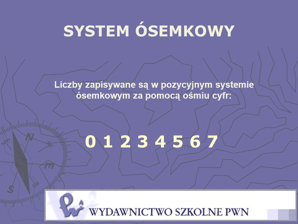 SYSTEM ÓSEMKOWY Liczby zapisywane są w pozycyjnym systemie ósemkowym za pomocą ośmiu cyfr: 0 1 2 3 4 5 6 7.
