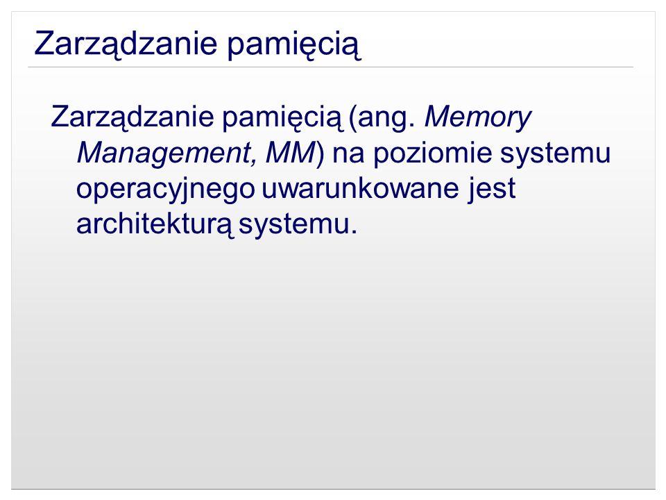 Zarządzanie pamięcią Zarządzanie pamięcią (ang.