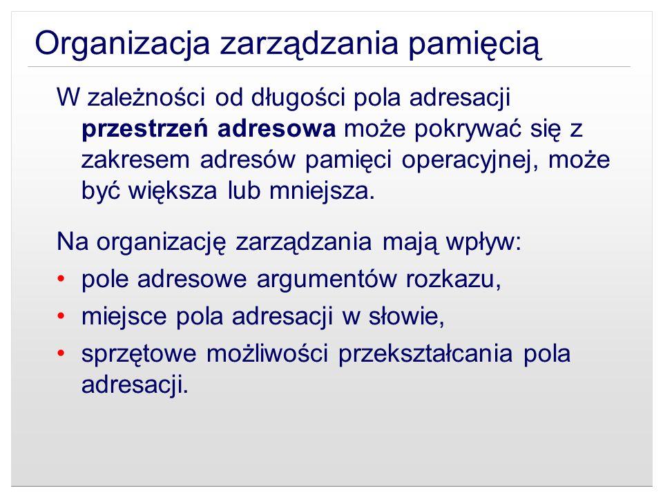 Organizacja zarządzania pamięcią