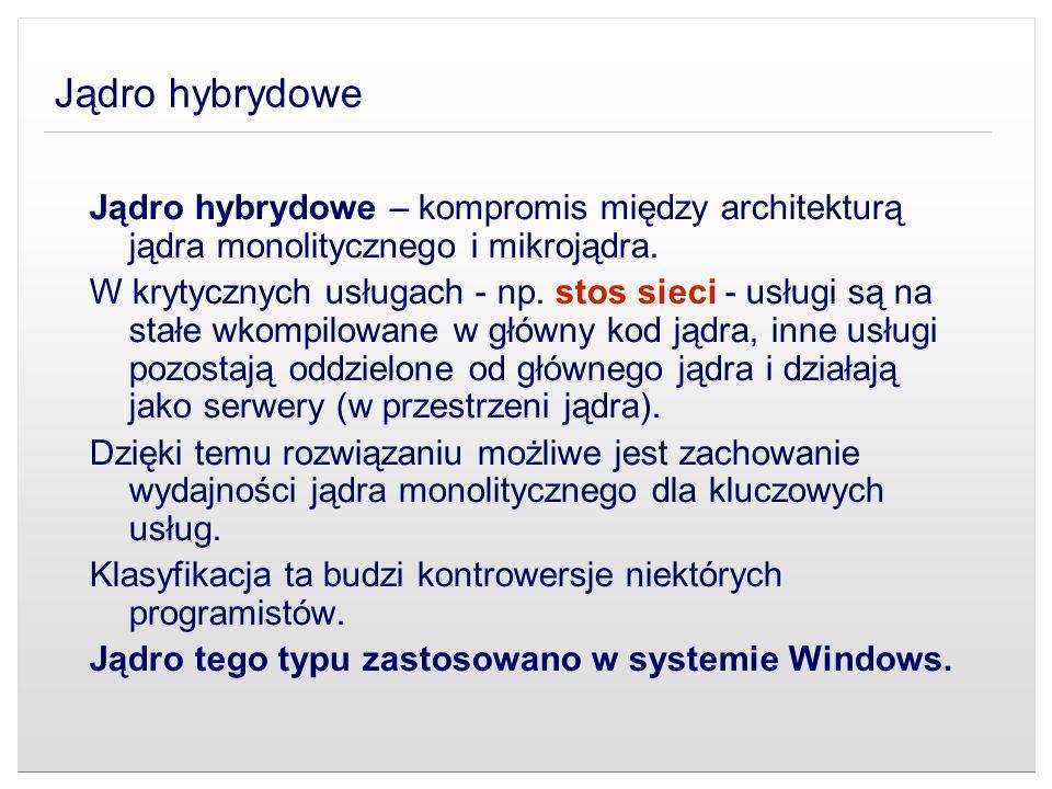 Jądro hybrydowe Jądro hybrydowe – kompromis między architekturą jądra monolitycznego i mikrojądra.