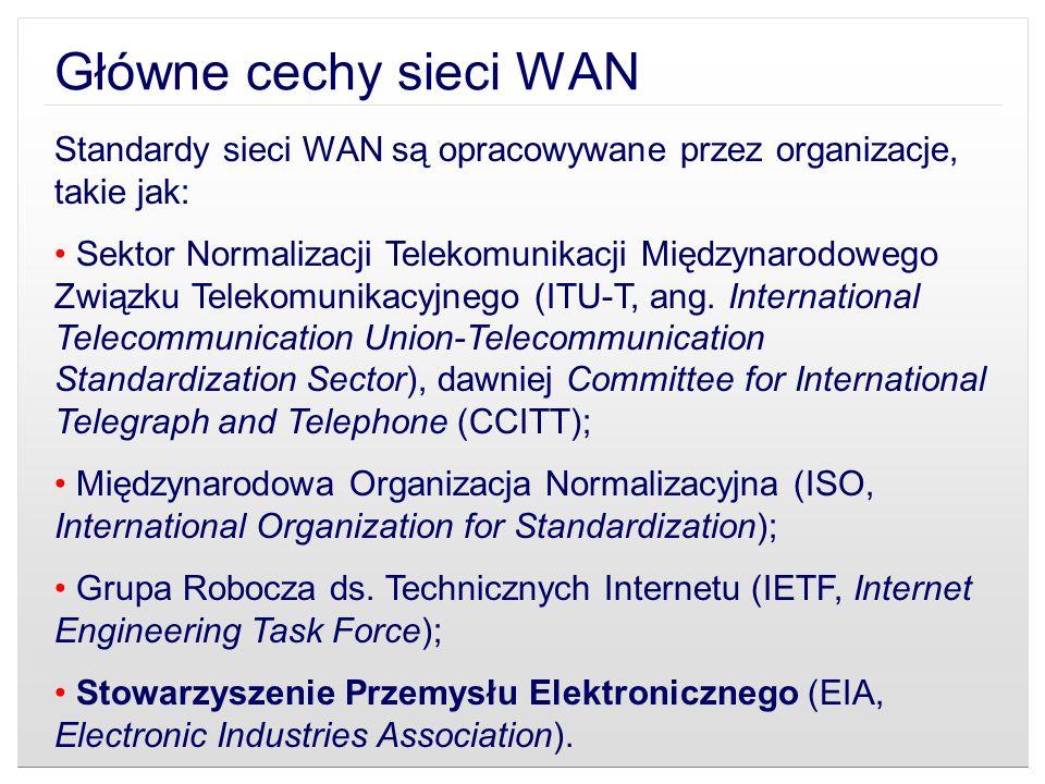 Główne cechy sieci WAN Standardy sieci WAN są opracowywane przez organizacje, takie jak: