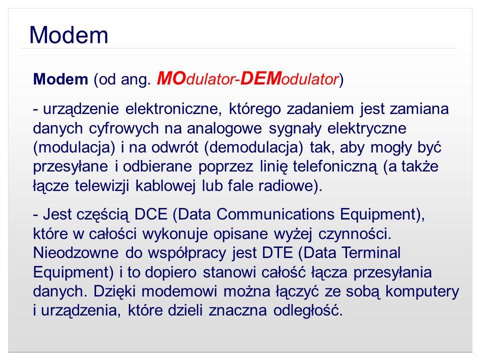 Modem Modem (od ang. MOdulator-DEModulator)