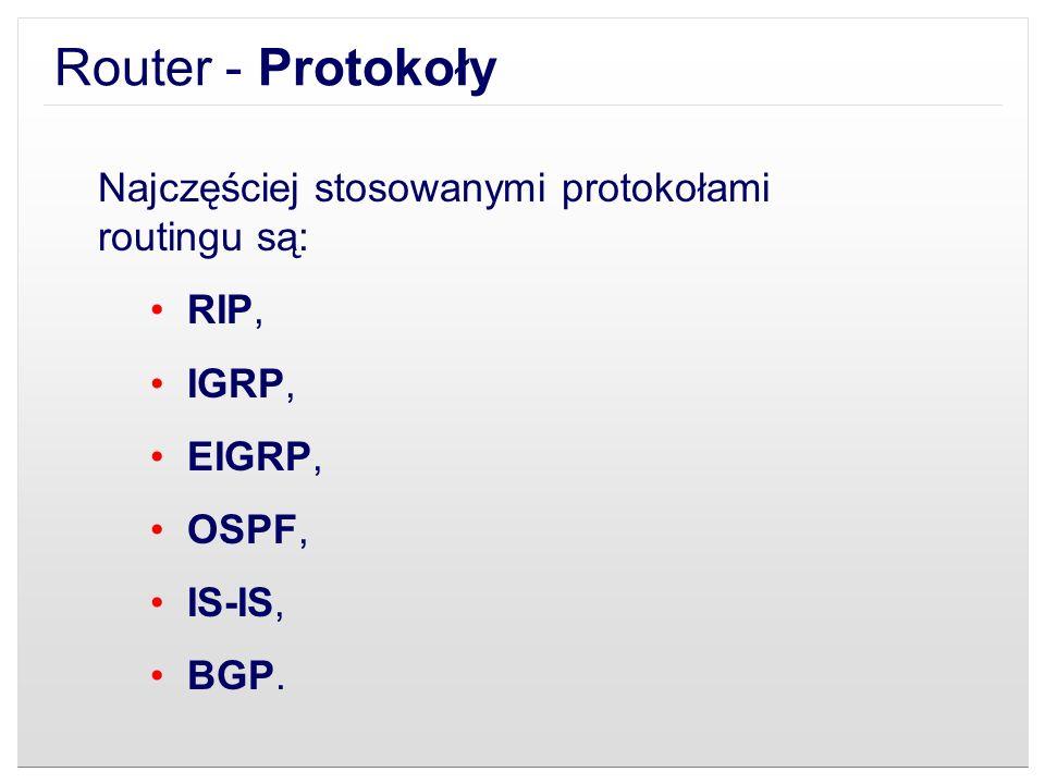 Router - Protokoły Najczęściej stosowanymi protokołami routingu są: