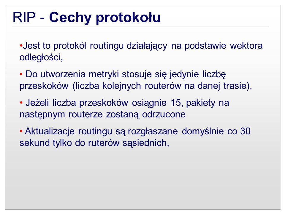 RIP - Cechy protokołuJest to protokół routingu działający na podstawie wektora odległości,