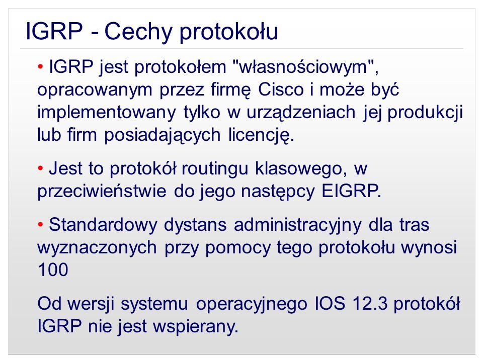 IGRP - Cechy protokołu
