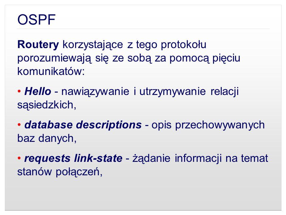 OSPF Routery korzystające z tego protokołu porozumiewają się ze sobą za pomocą pięciu komunikatów:
