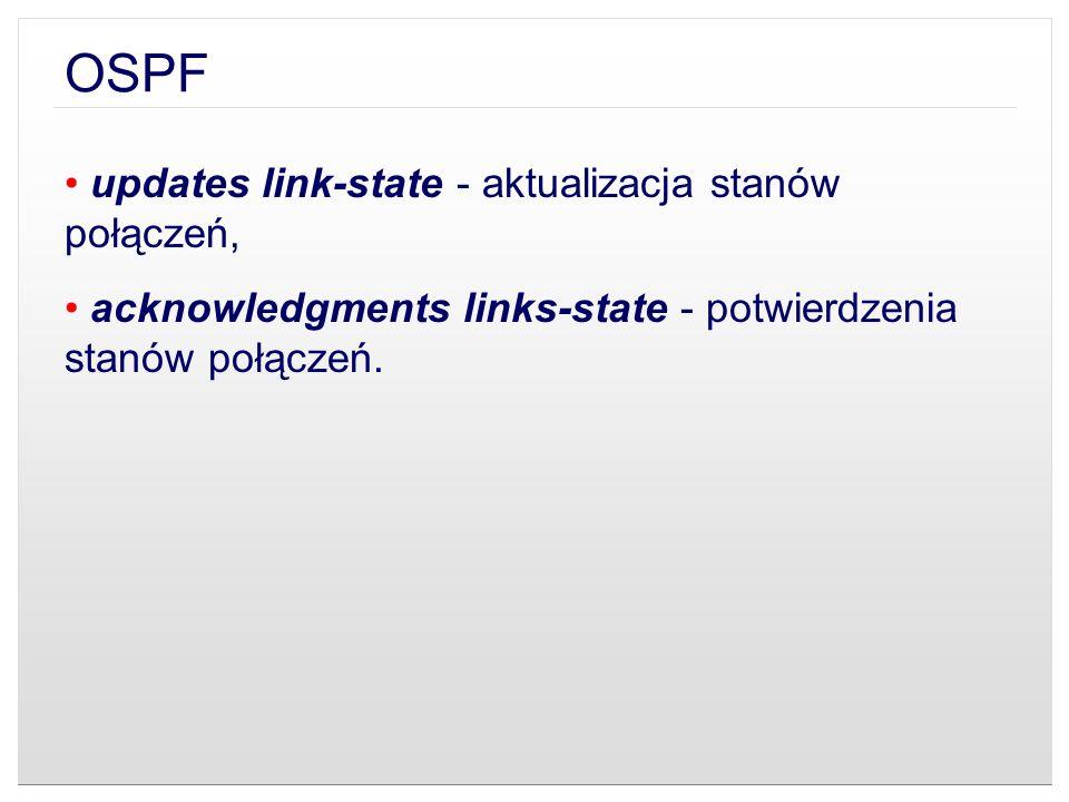 OSPF updates link-state - aktualizacja stanów połączeń,