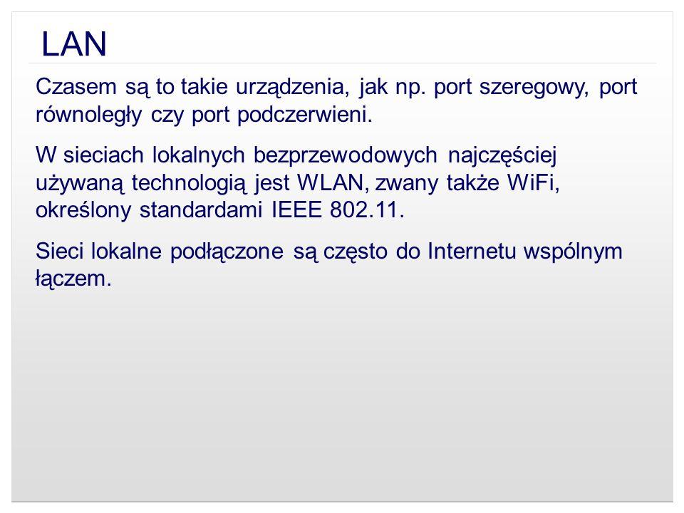 LAN Czasem są to takie urządzenia, jak np. port szeregowy, port równoległy czy port podczerwieni.