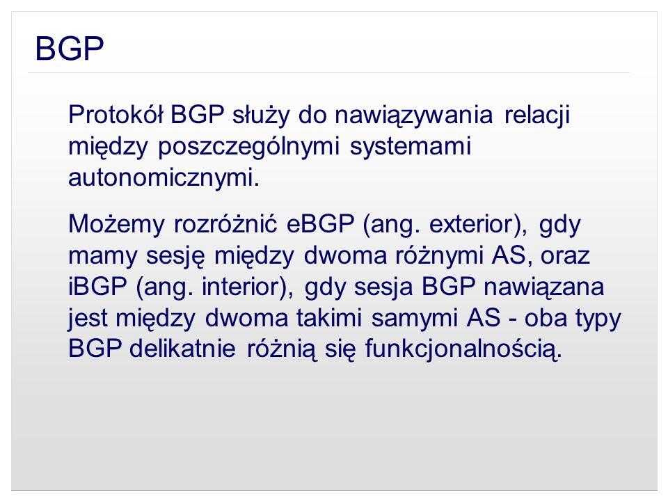 BGP Protokół BGP służy do nawiązywania relacji między poszczególnymi systemami autonomicznymi.