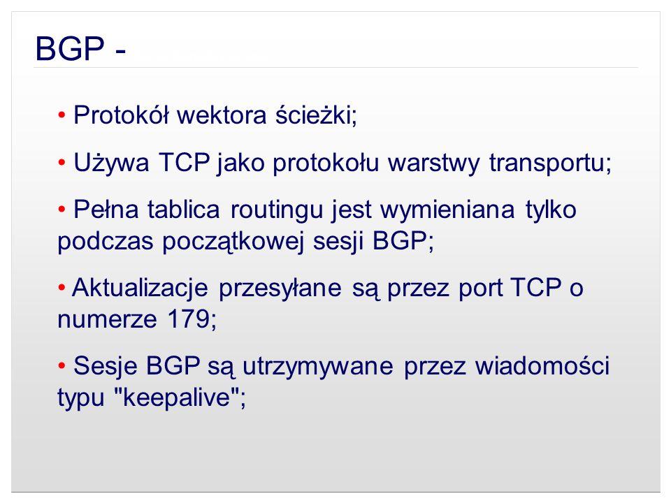 BGP - Cechy charakterystyczne