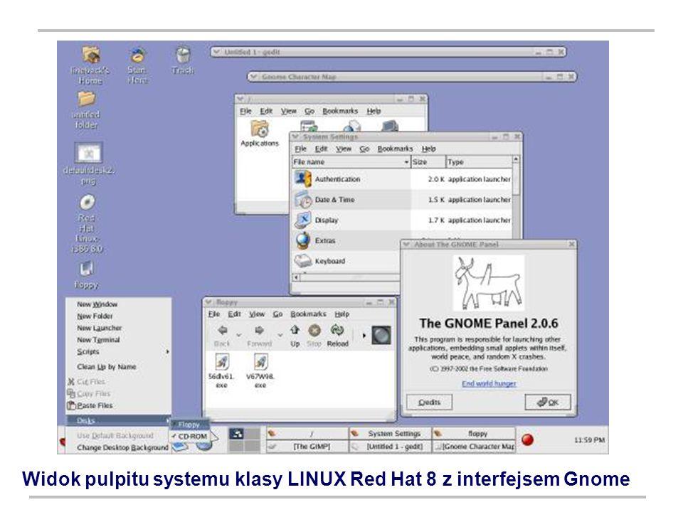 Widok pulpitu systemu klasy LINUX Red Hat 8 z interfejsem Gnome
