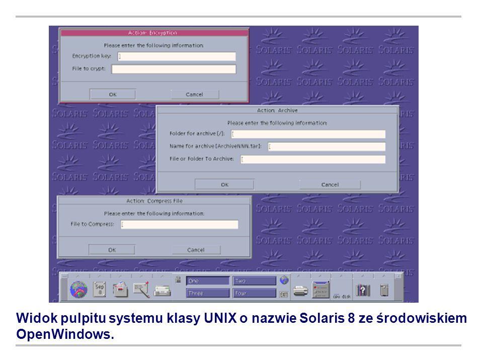 Widok pulpitu systemu klasy UNIX o nazwie Solaris 8 ze środowiskiem OpenWindows.