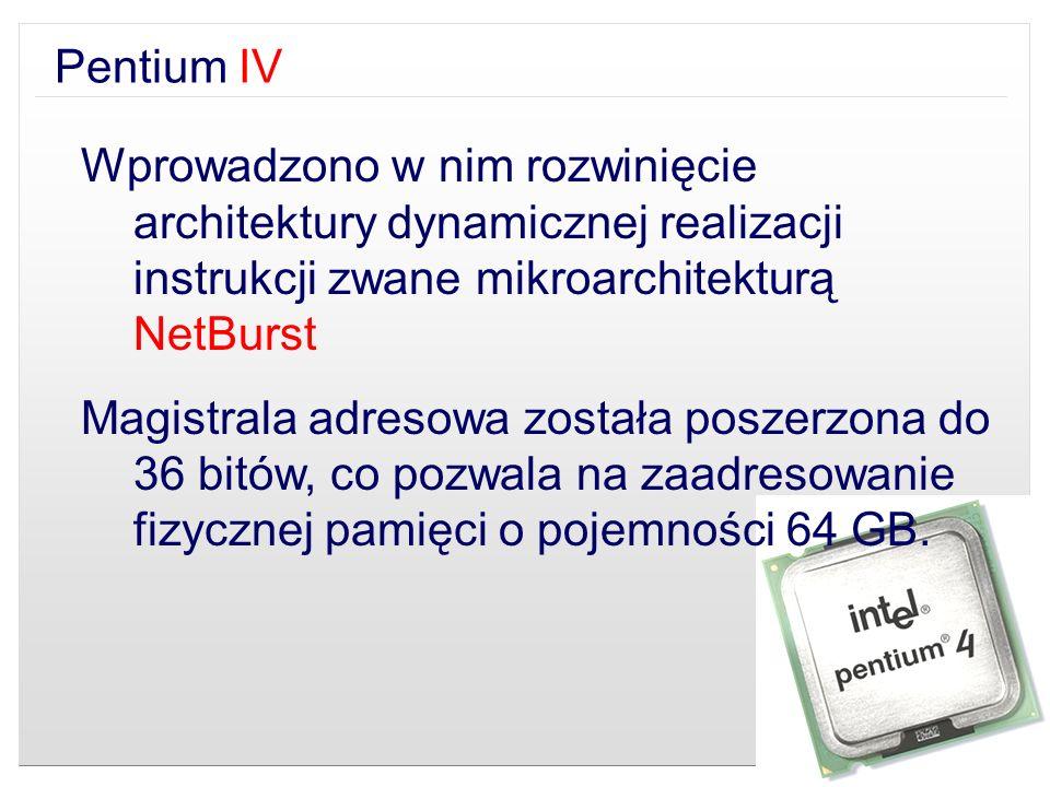 Pentium IV Wprowadzono w nim rozwinięcie architektury dynamicznej realizacji instrukcji zwane mikroarchitekturą NetBurst.