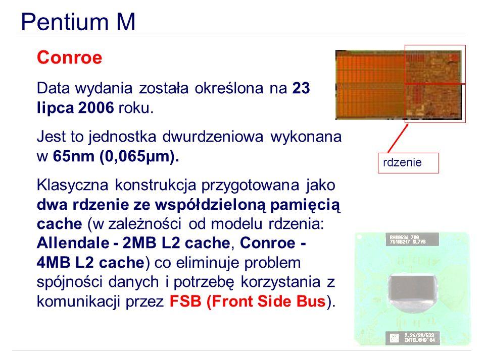 Pentium M Conroe Data wydania została określona na 23 lipca 2006 roku.