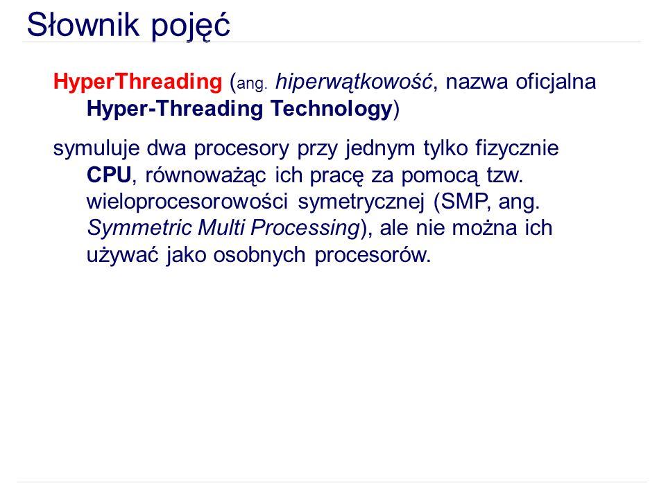 Słownik pojęć HyperThreading (ang. hiperwątkowość, nazwa oficjalna Hyper-Threading Technology)