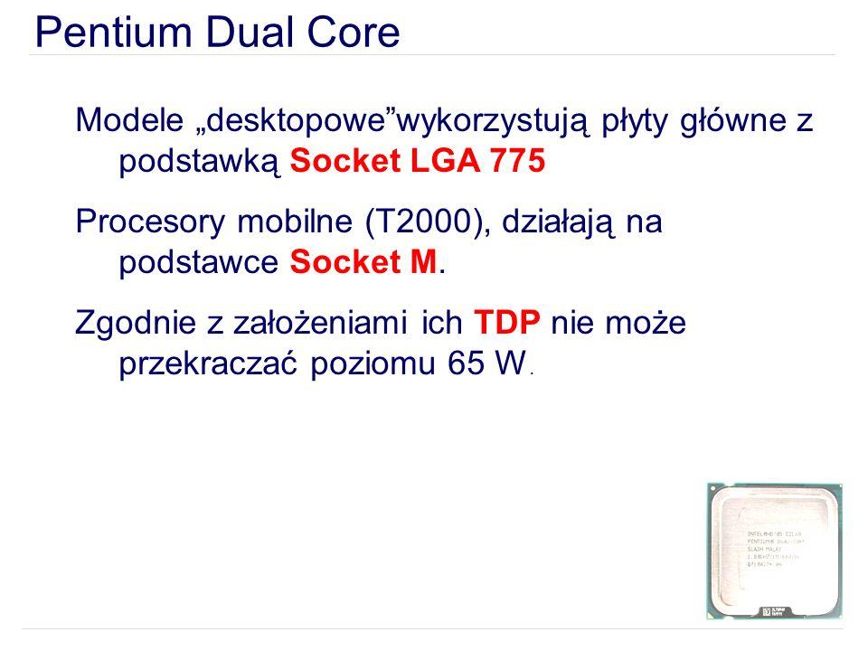 """Pentium Dual Core Modele """"desktopowe wykorzystują płyty główne z podstawką Socket LGA 775."""