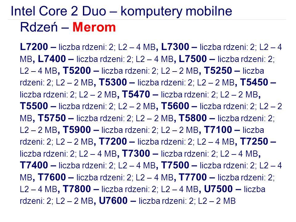 Intel Core 2 Duo – komputery mobilne
