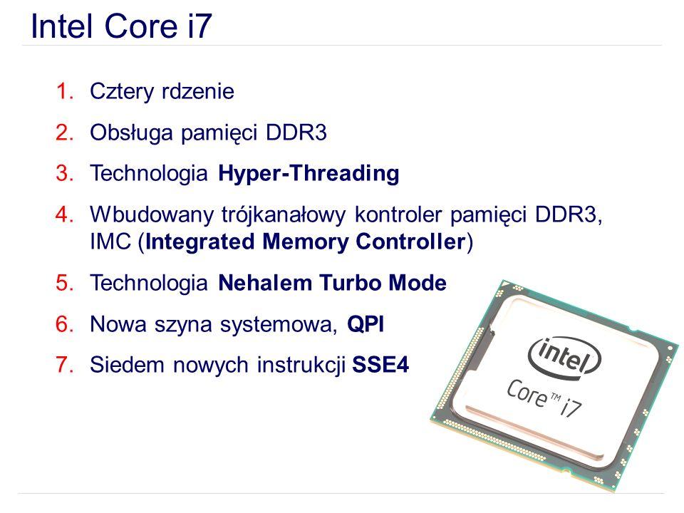 Intel Core i7 Cztery rdzenie Obsługa pamięci DDR3